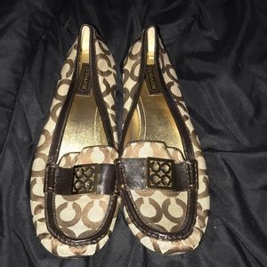 Coach Loafers! Tan and brown w/ gold coach detail